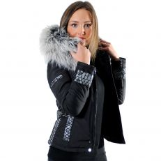 EMILY - SOFIA Ventiuno women down jacket with lamb leather patches and real fur hood collar