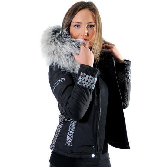 BELUCCI - BELLUCCI Ventiuno doudoune femme bi-matière cuir d agneau python  et fourrure véritable silver 52e580e05c8