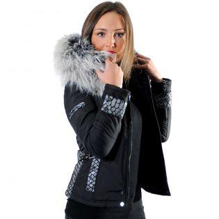BELUCCI - BELLUCCI Ventiuno doudoune femme bi-matière cuir d'agneau python et fourrure véritable silver