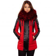 BELLA Ventiuno Veste longue 3/4 fourrure rouge véritable taille MAX - cuir d'agneau