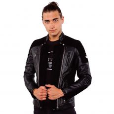 ALEX Ventiuno Veste motard en cuir d'agneau et daim noir all-black noir