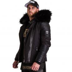 FLAVIYU Ventiuno doudoune homme bi-matière cuir d'agneau noir et fourrure véritable noir