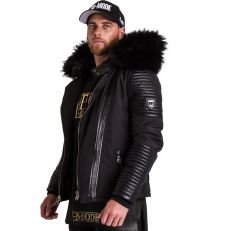 FLAVIYU Ventiuno men's down jacket with lamb leather patches and genuine hood collar fur