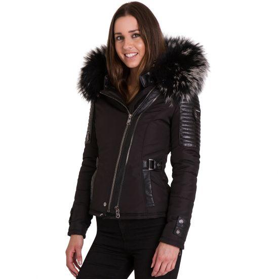 ff61b32b BELUCCI - BELLUCCI Ventiuno damejakke med lamme læder patches og ægte pels  hood krave ...