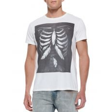 DIESEL - T-Shirt - Homme Blanc T-ROLT MEN'S FEATHER RIB CAGE PRINT SHORT SLEEVE T-SHIRT WHITE