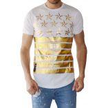 T-shirt flocage or noir etoiles