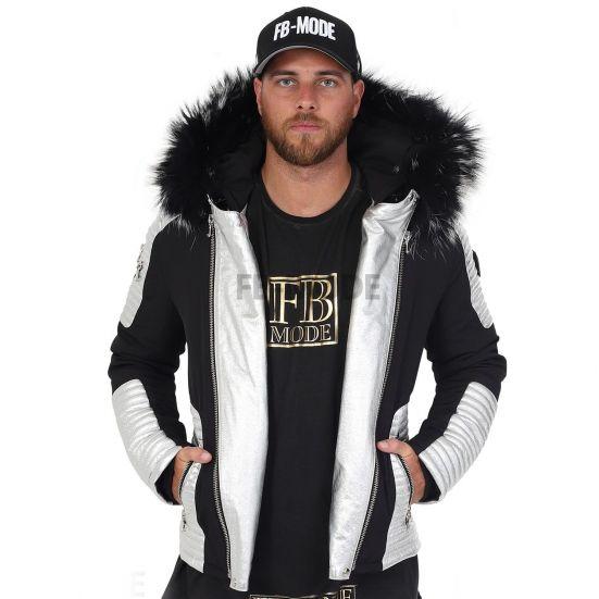 MASERATI - MAZERATI - MASERATI - MAZERATTI Ventiuno men's down jacket with lamb leather patches and genuine hood collar fur