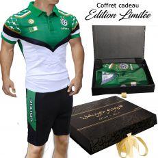 UNITIF Ensemble Maillot Algerie Football et Short pour Supporter Epais Logo Brode Qualite Premium 200 GSM col et Ourlet de Manch