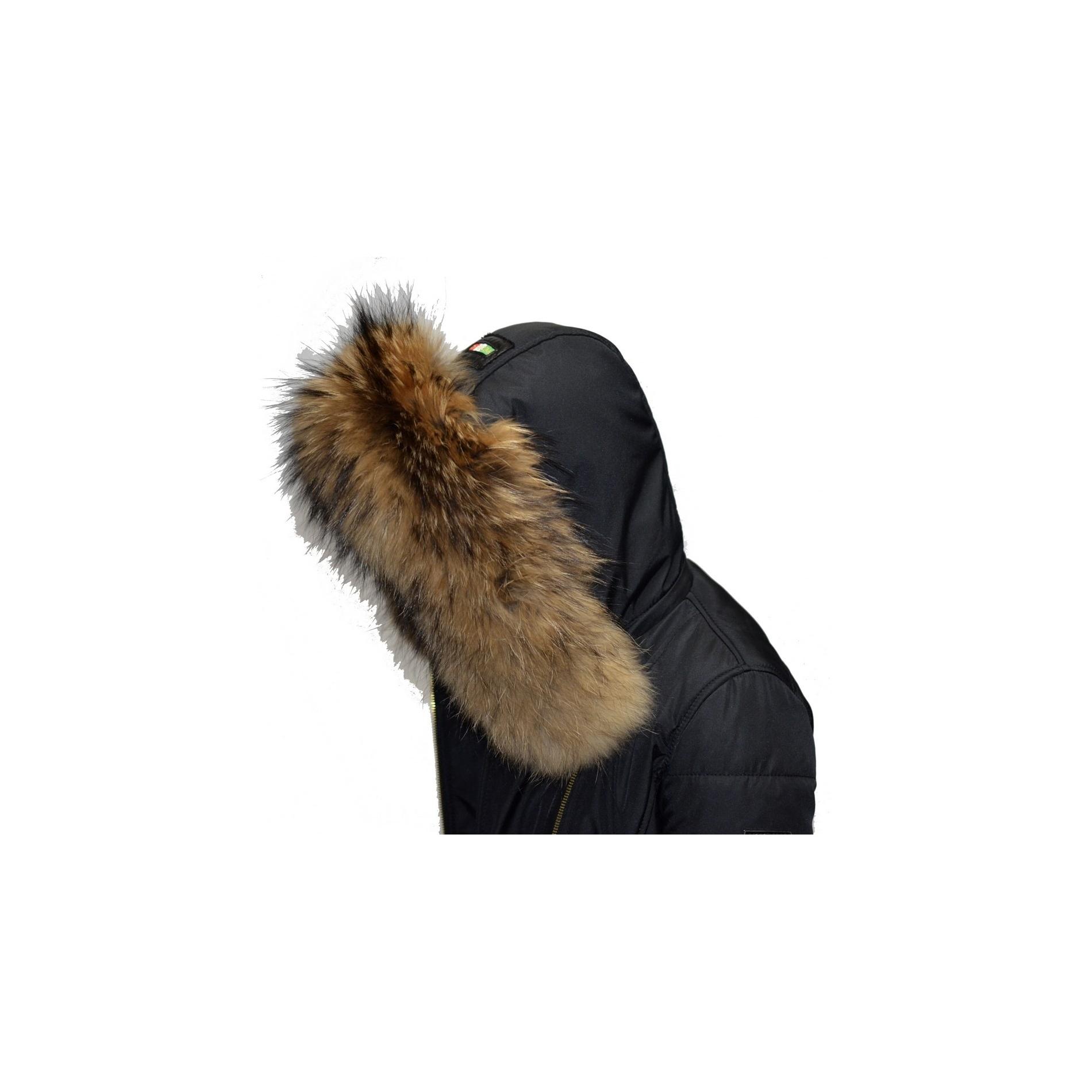 90f59c6e94d EMILY - SOFIA Ventiuno Doudoune perfecto noir avec GROSSE fourrure veritable  noir 13cm et ceinture en cuir d agneau - doudoune ventiuno