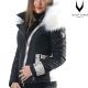 Ventiuno Veste Sofia Python à GROSSE fourrure 13cm de renard véritable blanche et cuir python