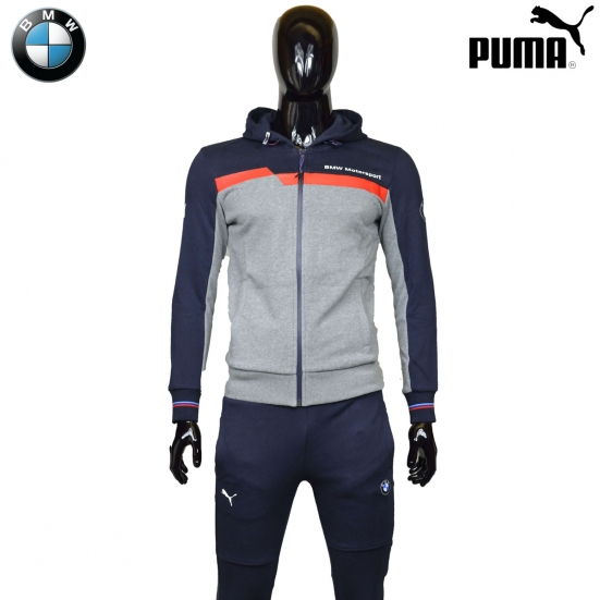 survetement puma bmw motorsport bleu gris 100 coton. Black Bedroom Furniture Sets. Home Design Ideas