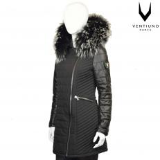 Ventiuno SYLVIA Veste doudoune fourrure véritable taille MAX ARGENT - cuir agneau