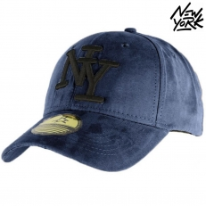 Casquette Baseball logo NY New York bleu marine navy style Daim - Suede snapback