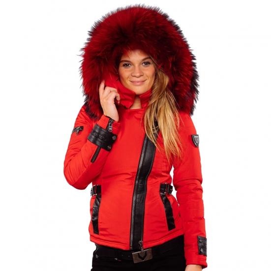 ea6a25e0ec0c Ventiuno EMILY Veste doudoune perfecto fourrure rouge véritable taille MAX  - cuir d agneau ...