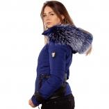 Ventiuno EMILY Veste doudoune perfecto fourrure bleu véritable taille MAX - cuir d'agneau