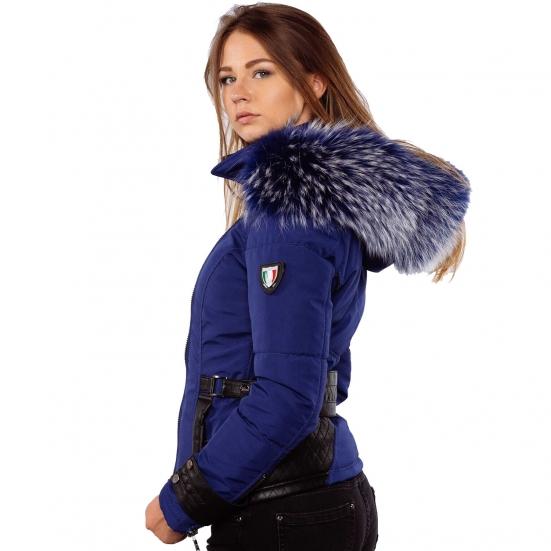 fbfe2e66913 Ventiuno EMILY Veste doudoune perfecto fourrure bleu véritable taille MAX -  cuir d agneau
