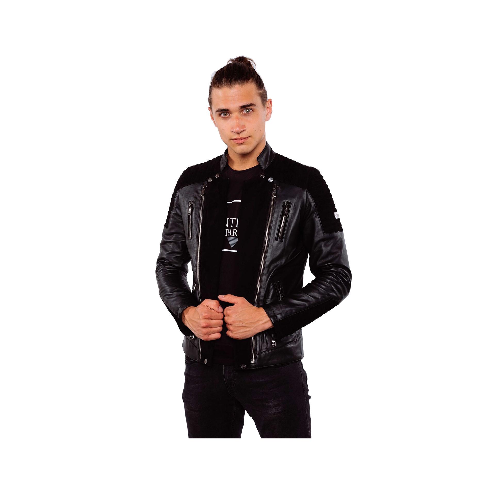 Veste motard daim noir les vestes la mode sont for Veste noir interieur ecossais