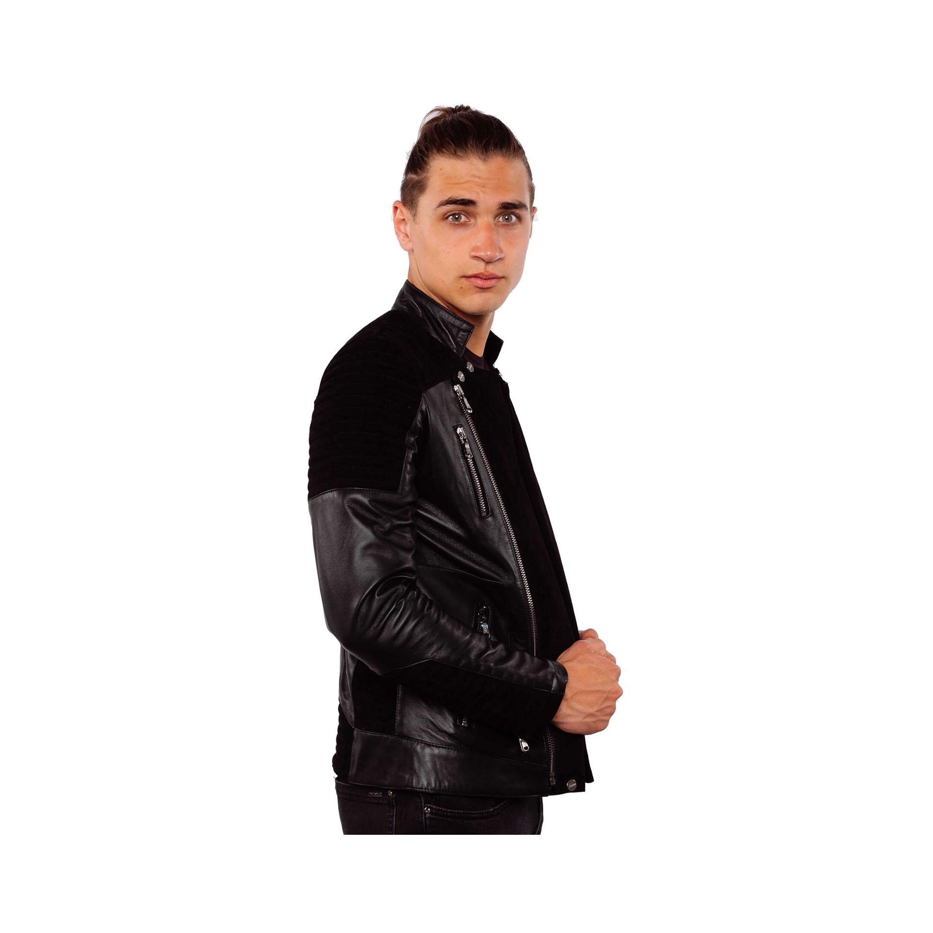 3f531203bb5c4 Black Motard Daim Et Veste En Cuir Noir Alex All D agneau Ventiuno  qzPZAxfCwx
