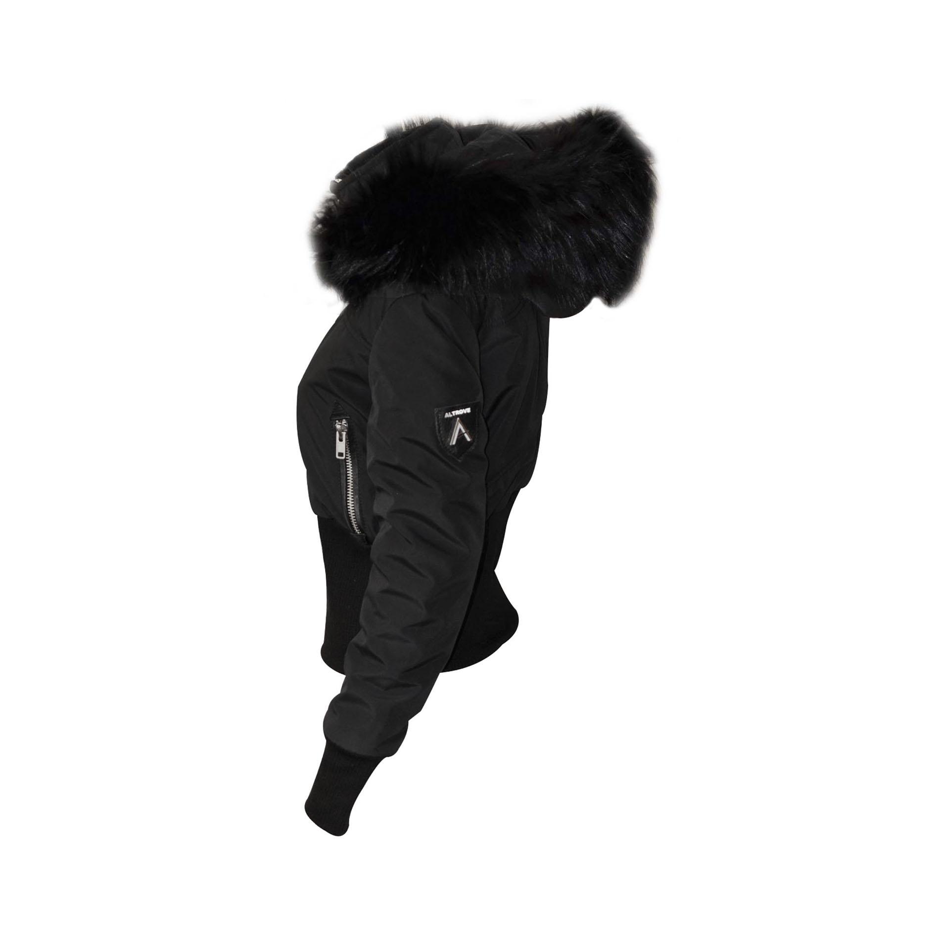 altrov veste tina doudoune hiver femme fourrure noir. Black Bedroom Furniture Sets. Home Design Ideas
