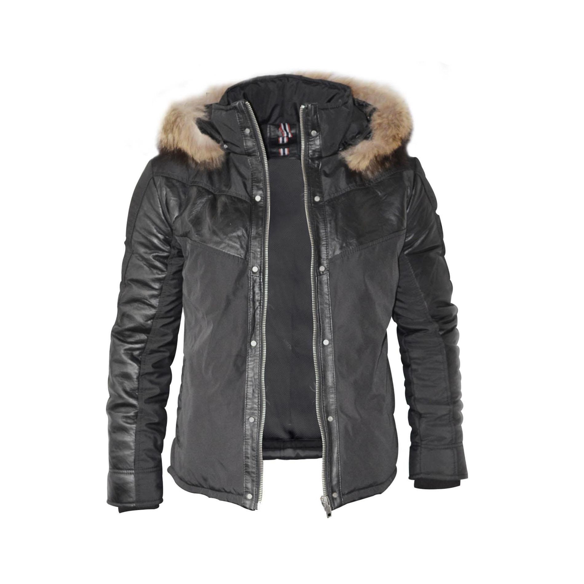 altrov furral veste doudoune homme fourrure et cuir v ritable noire courte doudoune fourrure. Black Bedroom Furniture Sets. Home Design Ideas