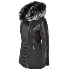 BELLA Ventiuno women down jacket with lamb leather patches and real fur hood collar