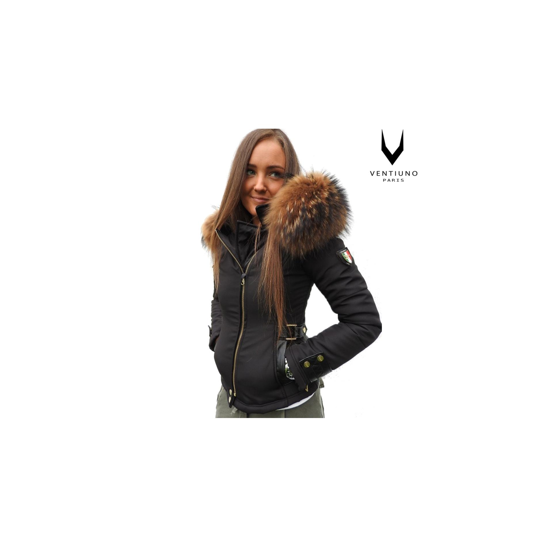 083f7144ee00 EMILY - SOFIA Ventiuno Veste Perfecto noir Bi-matière fourrure véritable et  cuir - doudoune ventiuno