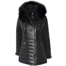 Ventiuno BELLA Veste doudoune 3/4 longue fourrure véritable noir taille MAX - cuir d'agneau - Nouvelle collection Ventiuno 2017