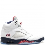 Nike Air Jordan 5 Retro V 136027-103 OLYMPIC white/varsity red-mid navy