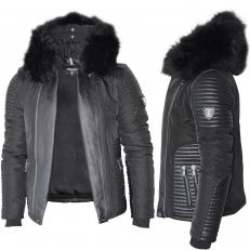 Ventiuno MASERATI Veste Doudoune Bi-matière noir fourrure véritable noire taille MAX - cuir d'agneau blanc