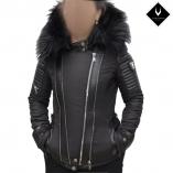 Ventiuno MONIKA Veste doudoune perfecto fourrure noir véritable taille MAX - cuir d'agneau