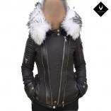 Ventiuno MONIKA Veste doudoune perfecto fourrure blanc véritable taille MAX - cuir d'agneau