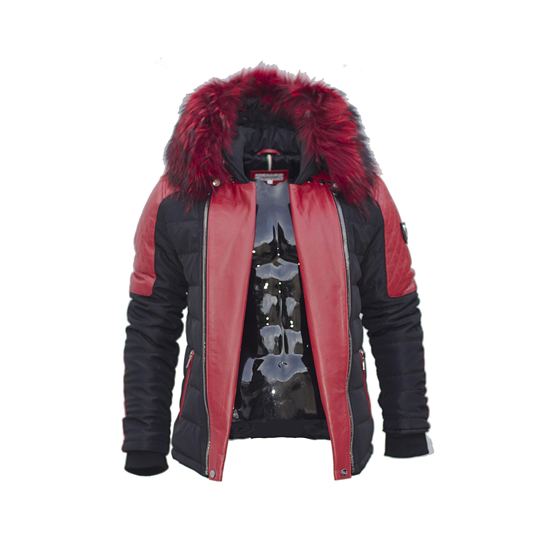 ventiuno modena veste doudoune bi mati re rouge fourrure paisse v ritable rouge cuir d 39 agneau. Black Bedroom Furniture Sets. Home Design Ideas