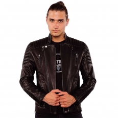 ALEX Ventiuno Veste motard en cuir d'agneau all black noir