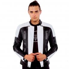 ALEX Ventiuno Veste motard en cuir d'agneau blanc et noir