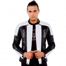 Ventiuno Biker jacket in white and black lambskin