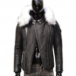 Ventiuno FLAVIYU Veste Doudoune Bi-matière fourrure véritable blanc et noir taille MAX - cuir d'agneau