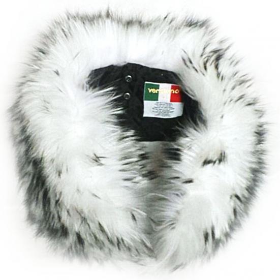 Ventiuno Col GROSSE fourrure veritable 17 cm blanches à mèches noires