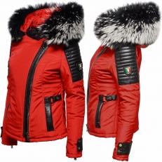 Ventiuno BELUCCI - BELLUCCI  rouge Veste fourrure argenté noir et blanche véritable taille mega - cuir d'agneau