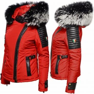 Ventiuno Belucci rouge Veste fourrure argenté noir et blanche véritable taille mega - cuir d'agneau