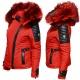 Ventiuno Belucci rouge Veste doudoune fourrure rouge véritable taille mega - cuir d'agneau