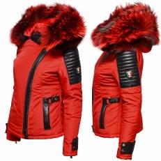 Ventiuno BELUCCI - BELLUCCI  rouge Veste doudoune fourrure rouge véritable taille mega - cuir d'agneau