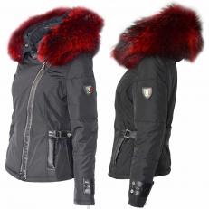 Ventiuno Emily noir Veste fourrure rouge véritable épaisseur maximum - cuir d'agneau
