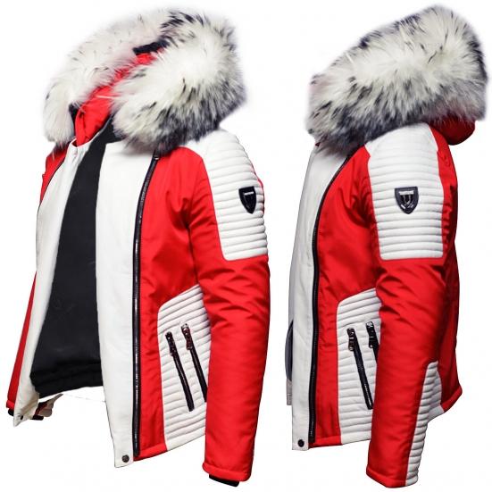 Ventiuno Mazeratti Veste Doudoune Bi-matière rouge blanche fourrure véritable blanche mèches noir épaisseur maximum