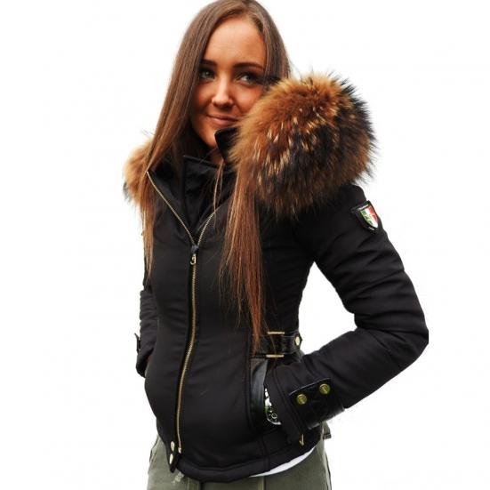 prix compétitif 56717 88d2f Ventiuno Veste Perfecto Emily noir Bi-matière fourrure Renard véritable et  cuir