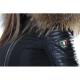Ventiuno Veste Belucci à GROSSE fourrure 13cm de renard véritable et cuir
