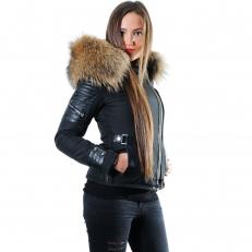 Ventiuno BELUCCI Veste doudoune perfecto fourrure véritable taille MAX - cuir d'agneau