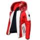 Ventiuno Mazeratti Veste Doudoune Bi-matière rouge blanche fourrure véritable rouge mèches blanches épaisseur maximum