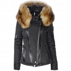 MONIKA - MONICA Ventiuno women down jacket with lamb leather patches and real fur hood collar