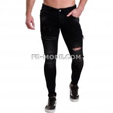 Ventiuno Jean slim-fit stretch noir élastique modèle Destroy dechiré confortable avec fermeture éclair