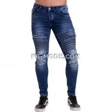 Ventiuno Jean slim-fit stretch bleu foncé élastique modèle Destroy dechiré confortable avec fermeture éclair